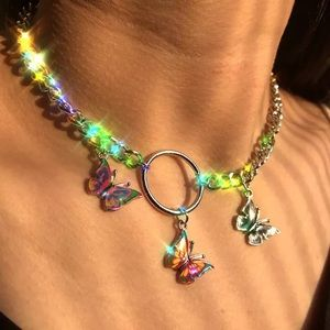 """Jewelry - """"FLY AF"""" COLORFUL RESIN BUTTERFLY CHOKER NECKLACE"""